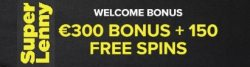 Super Lenny Casino 150% up to €300 bonus and 150 free spins