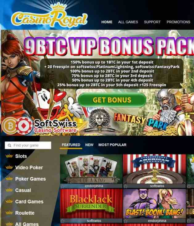 CasinoRoyal.one bitcoin casino review