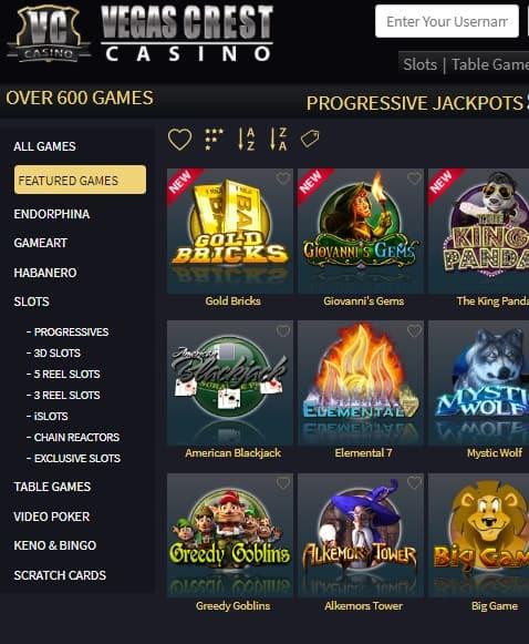 Vegas Crest Casino Free Spins Bonus