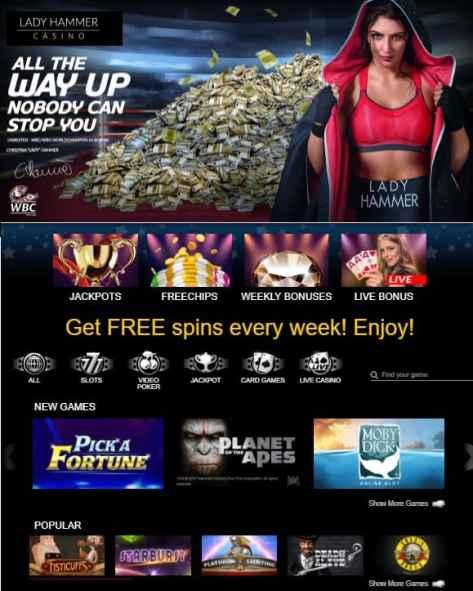 Lady Hammer Casino Online & Mobile Free Bonus