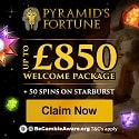 Pyramid's Fortune Casino 50 free spins + 250% up to £800 free bonus