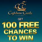 Captain Cooks Casino 100 free spins + 275% up to $/€475 free bonus