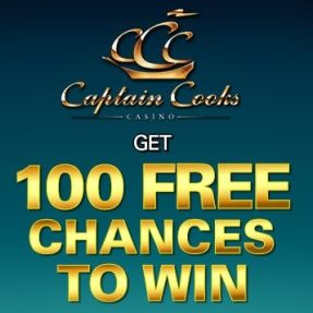 Captain Cooks Casino 100 free spins + 275% up to $/€475 free bonus