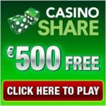 Casino Share 150 free spins + 175% up to $/€500 welcome bonus