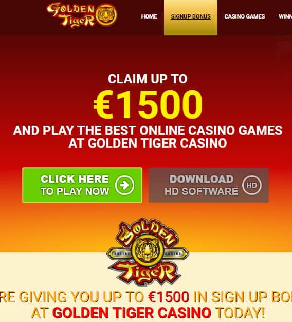 Golden Tiger Casino free spins bonus