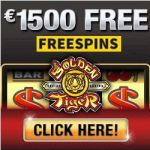 Golden Tiger Casino 100 free spins   300% up to €1500 free bonus