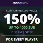 MEGAWINS – 180 gratis spins and 150% bonus up to €1,000 or 1 BTC