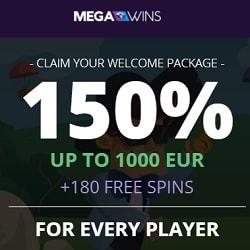 MEGAWINS - 180 gratis spins and 150% bonus up to €1,000 or 1 BTC