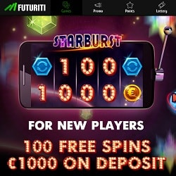 FUTURITI Casino 100 free spins + 200% up to €1,000 welcome bonus