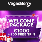 Vegas Berry Casino 200 free spins no wagering + €1000 free play bonus
