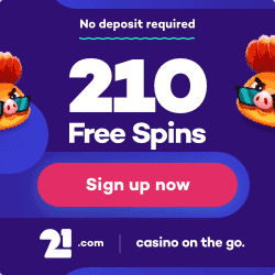 21.com Casino: 210 gratis spins no deposit & €510 welcome bonus