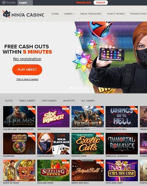 NinjaCasino.com free spins bonus