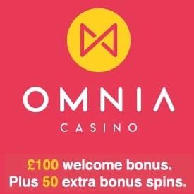 Omnia Casino 50 free spins + 100% bonus + €100,000 daily prize