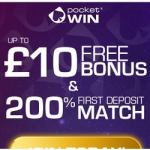 Pocket Win Casino £10 no deposit + 200% free bonus for UK