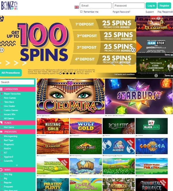 Bonzo Spins Casino review