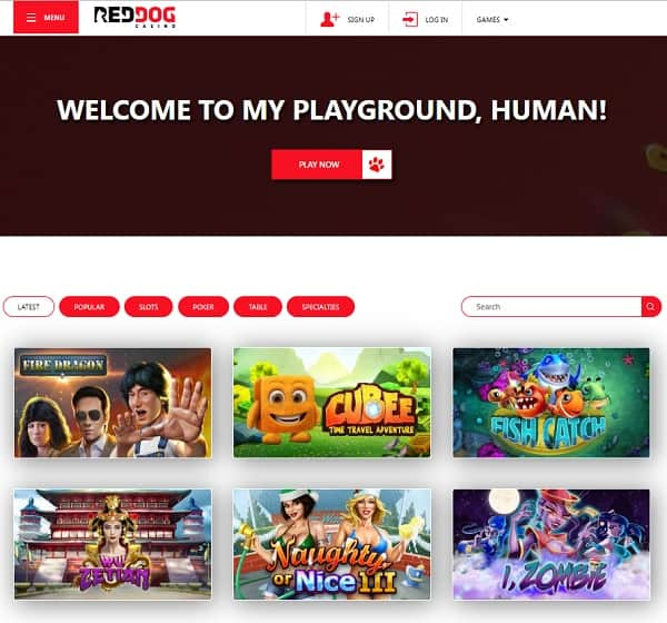 Red Dog Casino free spins bonus