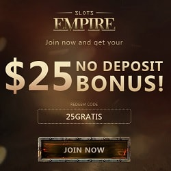 Slots Empire Casino $25 free chip bonus (Real Time Gaming, USA)
