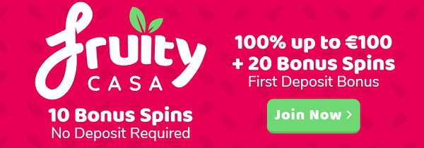 Fruity Casa Casino 10 free spins bonus without deposit