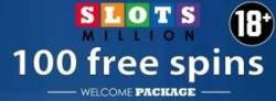 SlotsMillion Casino 100 exclusive free spins plus €100 welcome bonus