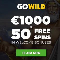 GOWILD Casino 50 free spins + 250% bonus + $1,000 gratis