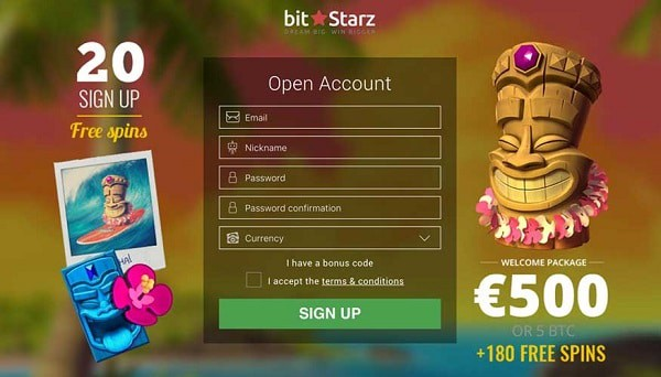 20 free spins on registration at BitStarz