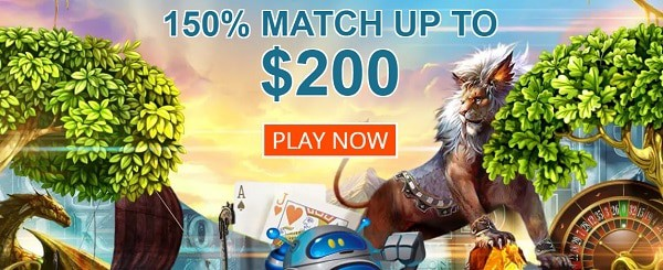 150% welcome bonus and 100 free spins