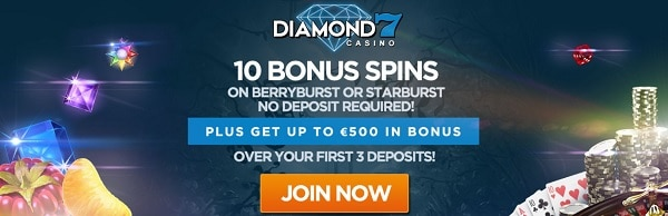 Diamond 7 Casino exclusive no deposit bonus 10 free spins on Starburst