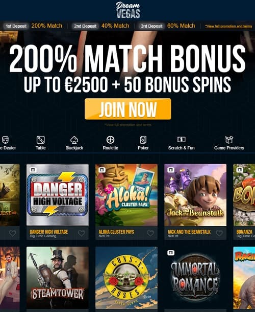 Dream Vegas Casino Review: 120 gratis spins + €/$7500 free bonus