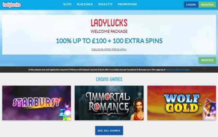 LadyLucks Casino Mobile free spins bonus UK