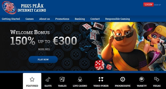 Piggs Peak Casino Review: 50 free spins and 150% up to $300