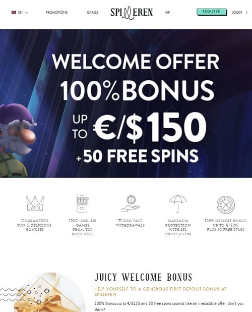 Spilleren Casino Review 50 free spins and 100% up to €/$150 bonus