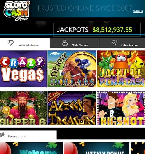 Sloto Cash Casino Review | $7777 welcome bonus and 300 free spins