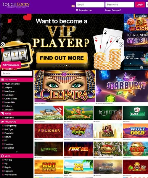 Touch Lucky Casino Review | 50 free spins no deposit + €500 bonus