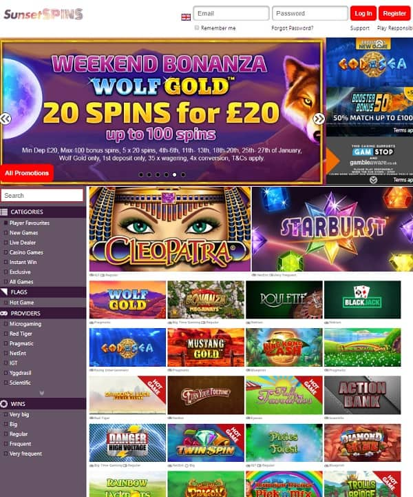 Sunset Spins Casino Review: 10 free spins and 100% welcome bonus