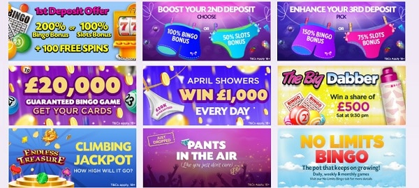 Lucky Pants Bingo bonuses and promotions
