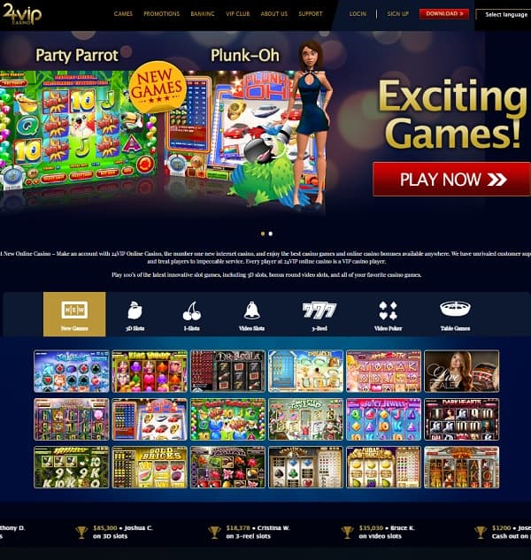 24 VIP Casino Review: free bonus and free spins