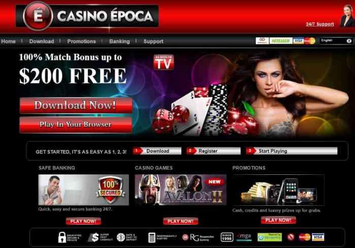 Epoca Casino free spins and no deposit bonus