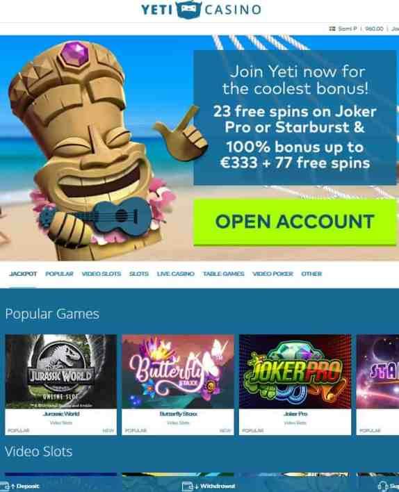 Yeti Casino free spins bonus