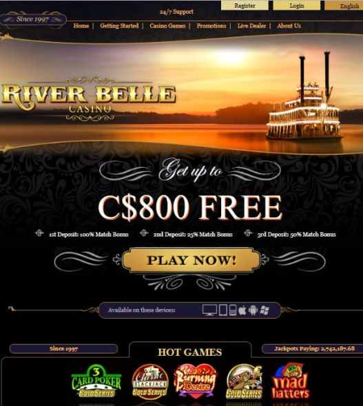 River Belle Casino - exclusive free spins and free cash bonus