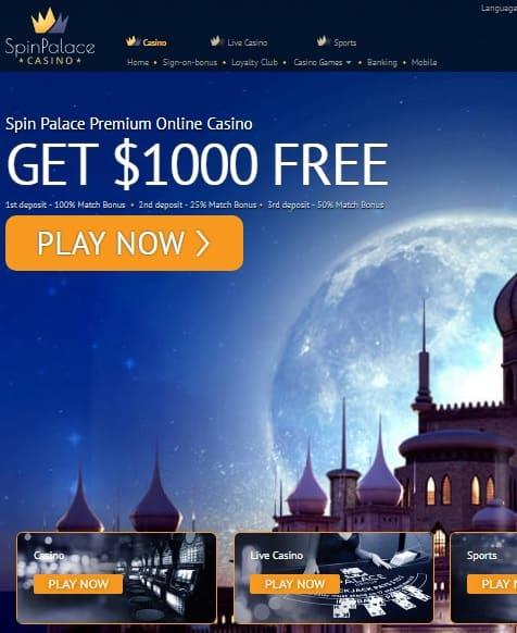 SpinPalace free spins and free bet bonus