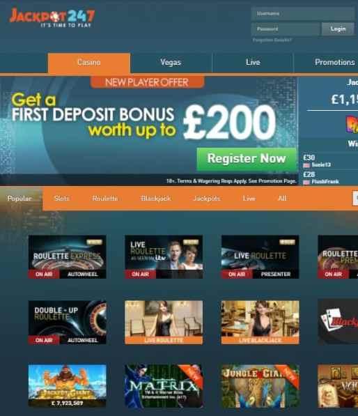 Jackpot247 Casino Review