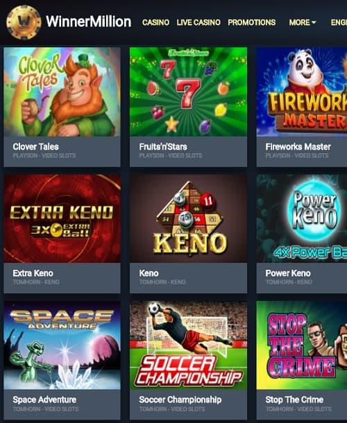 WinnerMillion Casino screen review