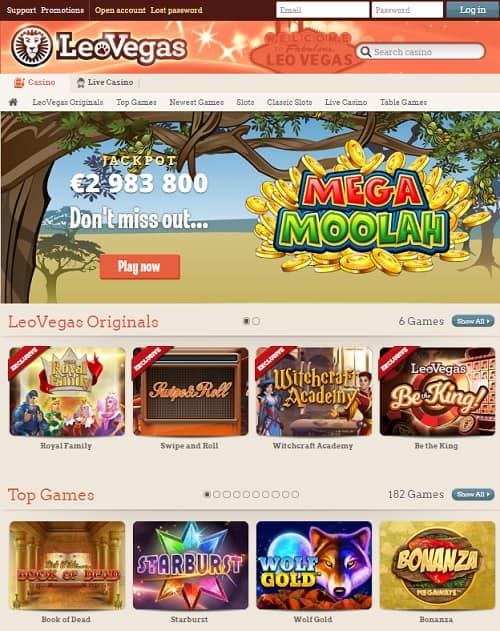 Leo Vegas Homepage