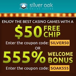 Silver Oak Casino $50 free chip - no deposit bonus code - USA