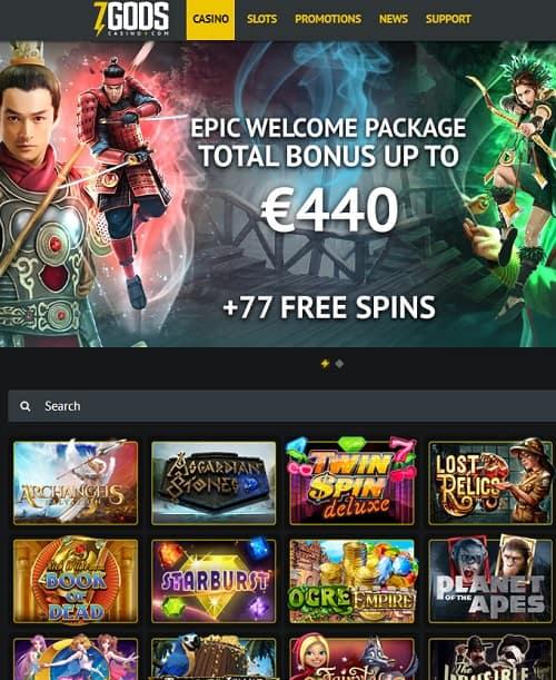 7 Gods Casino free spins bonus