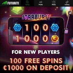 FUTURITI Casino welcome bonus: 100 free spins or €1000 free money?