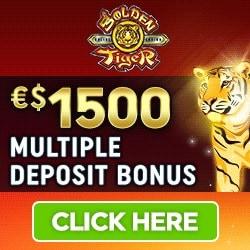 Golden Tiger Casino 100 free spins + €1500 bonus on Mega Moolah