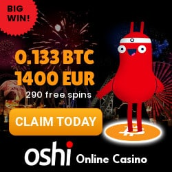 Oshi Casino (Oshi.io) 290 free spins + €1400 or Bitcoin welcome bonus
