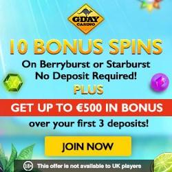 GDAY Casino 50 Free Spins and 200% free bonus - no max cashout!