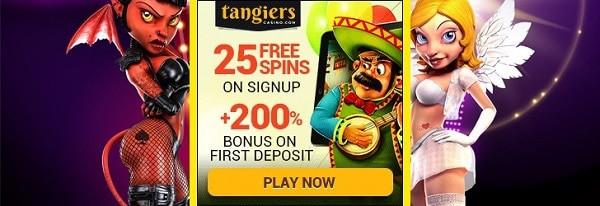 Tangiers Casino 25 free spins no deposit bonus on sign-up